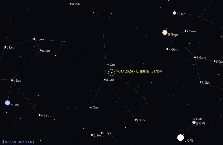 Finder chart NGC 2624 - Elliptical Galaxy in Cancer star