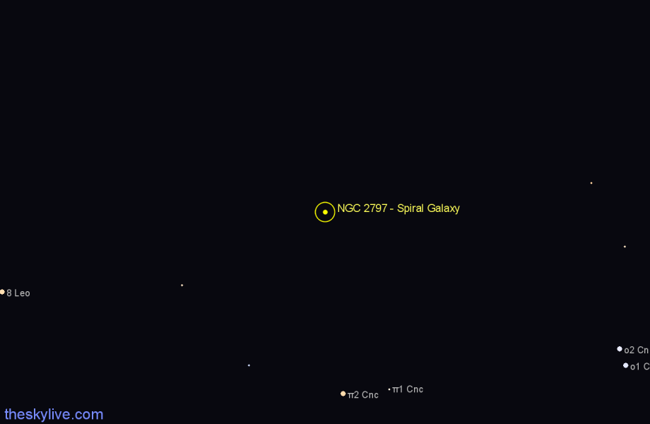 Finder chart NGC 2797 - Spiral Galaxy in Cancer star