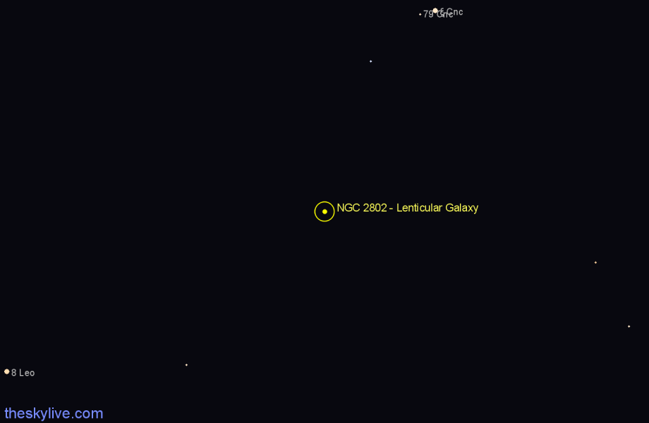 Finder chart NGC 2802 - Lenticular Galaxy in Cancer star
