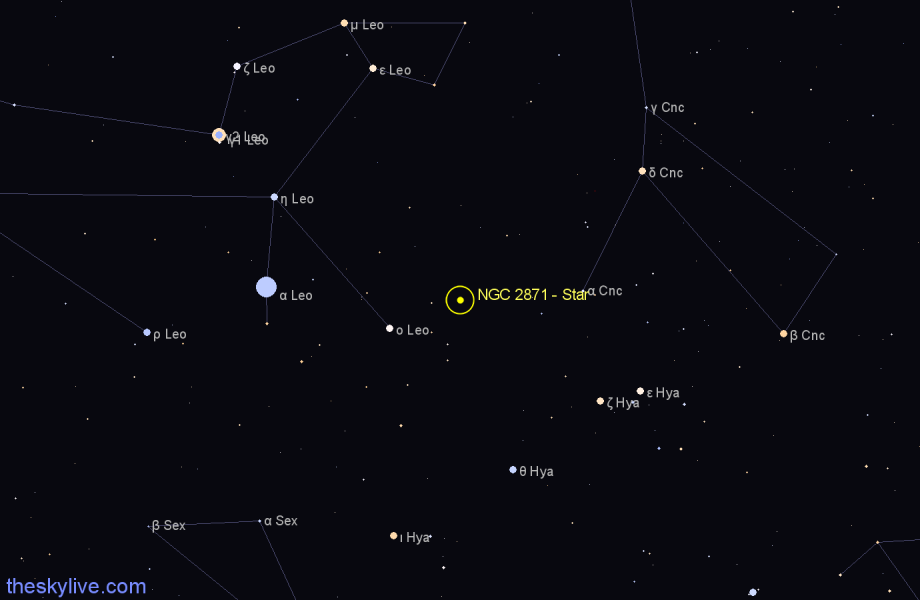 Finder chart NGC 2871 - Star in Leo star
