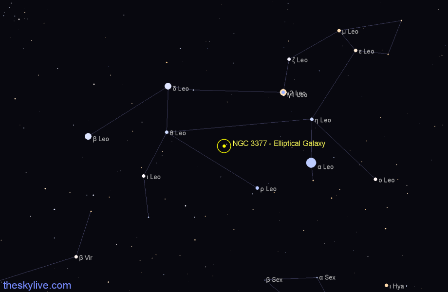 Finder chart NGC 3377 - Elliptical Galaxy star