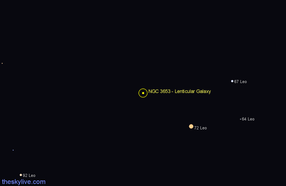 Finder chart NGC 3653 - Lenticular Galaxy in Leo star