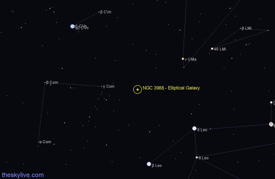 Finder chart NGC 3988 - Elliptical Galaxy in Leo star