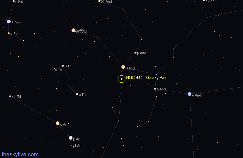 Finder chart NGC 414 - Galaxy Pair star