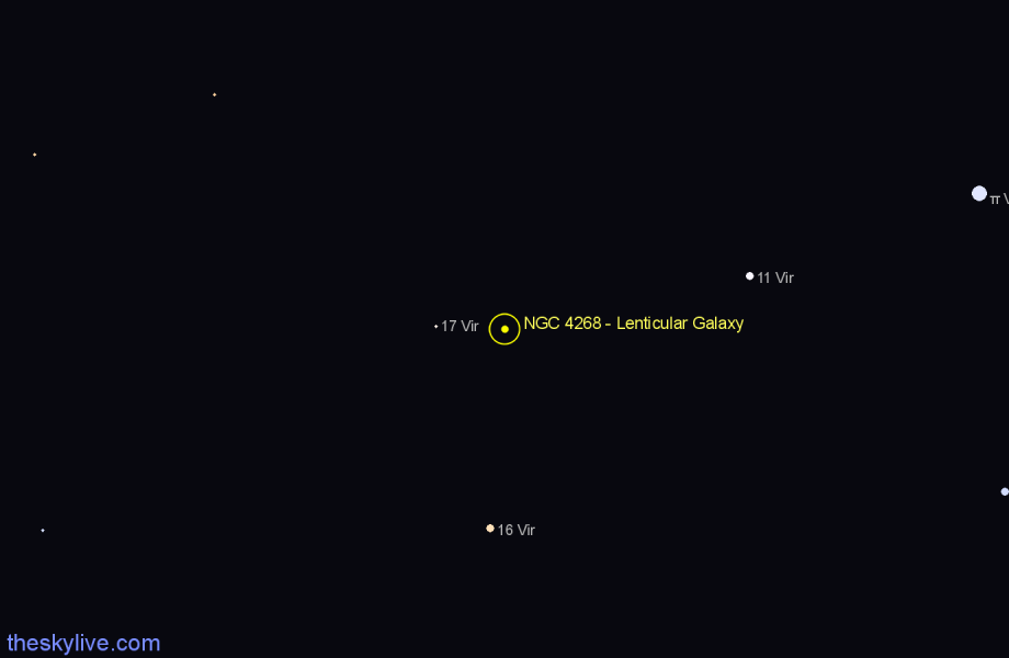 Finder chart NGC 4268 - Lenticular Galaxy star