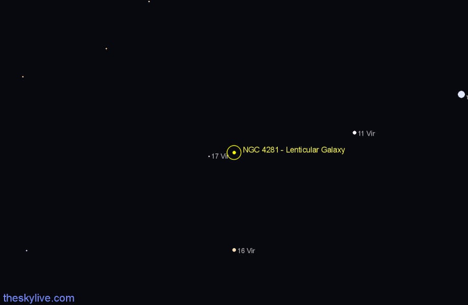 Finder chart NGC 4281 - Lenticular Galaxy star