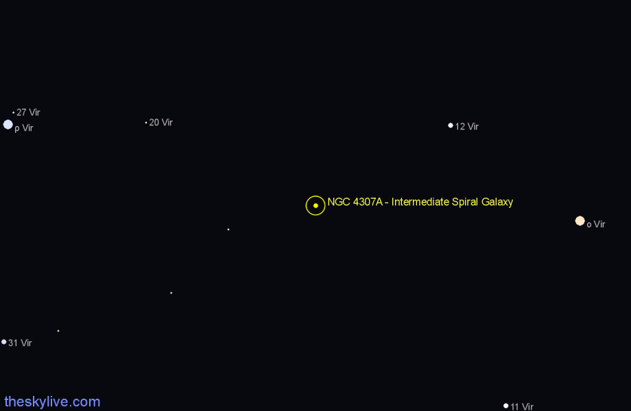 Finder chart NGC 4307A - Intermediate Spiral Galaxy star