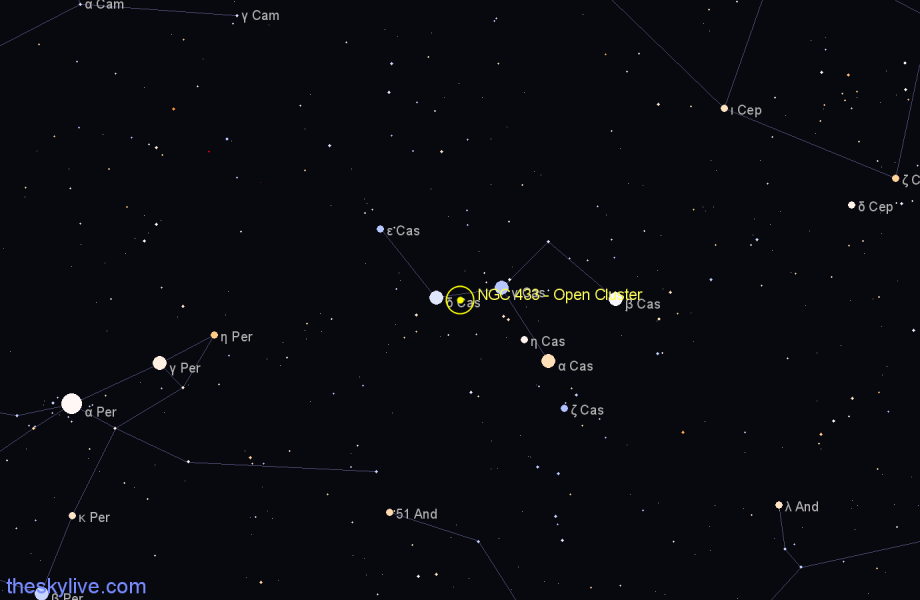 Finder chart NGC 433 - Open Cluster in Cassiopeia star