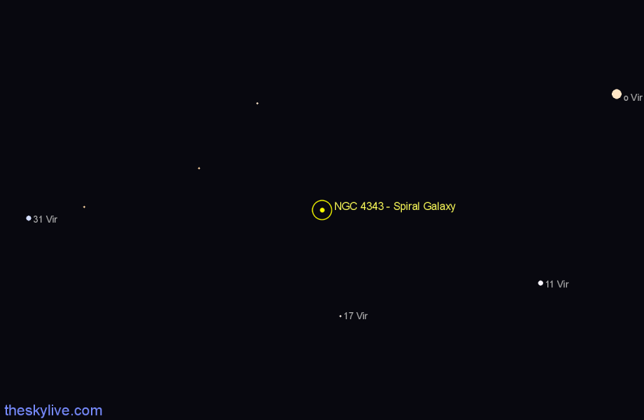 Finder chart NGC 4343 - Spiral Galaxy star