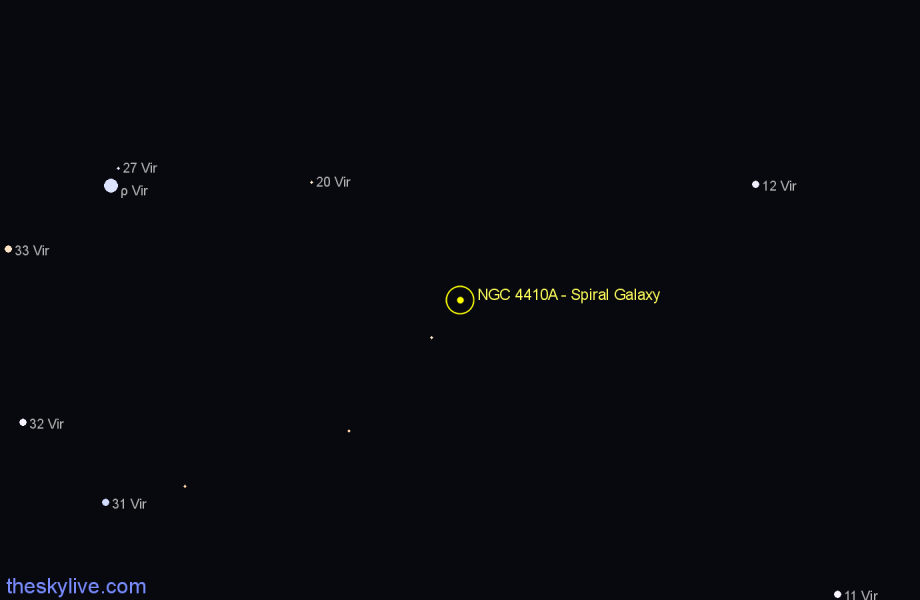 Finder chart NGC 4410A - Spiral Galaxy star