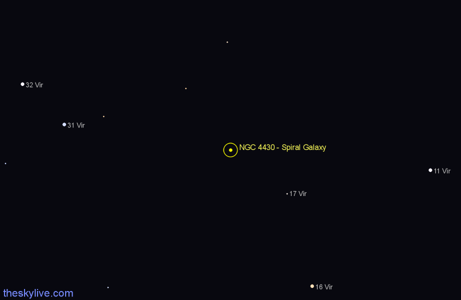 Finder chart NGC 4430 - Spiral Galaxy star