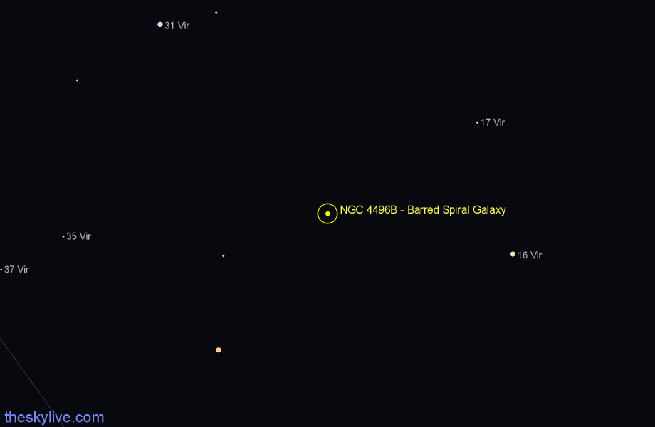 Finder chart NGC 4496B - Barred Spiral Galaxy star