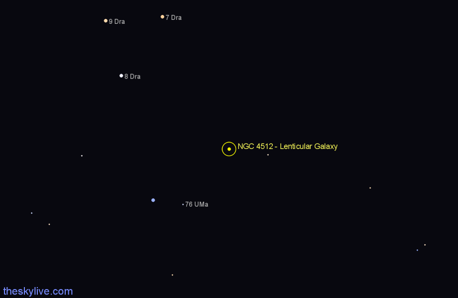Finder chart NGC 4512 - Lenticular Galaxy in Draco star