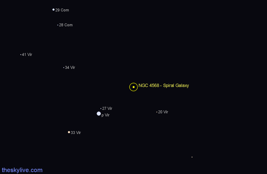 Finder chart NGC 4568 - Spiral Galaxy star