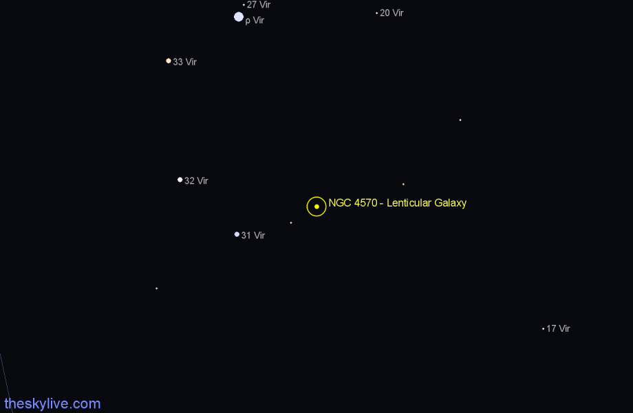 Finder chart NGC 4570 - Lenticular Galaxy star