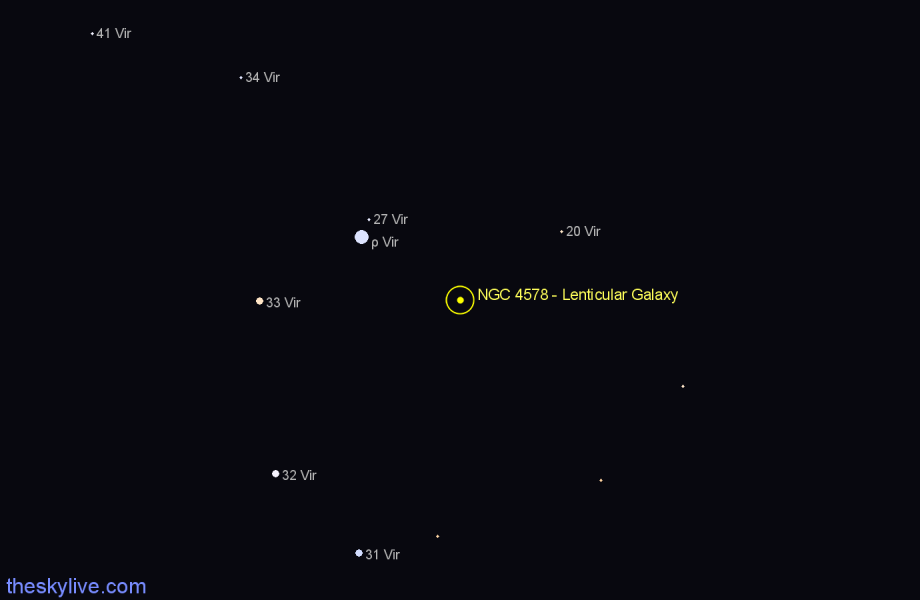 Finder chart NGC 4578 - Lenticular Galaxy star