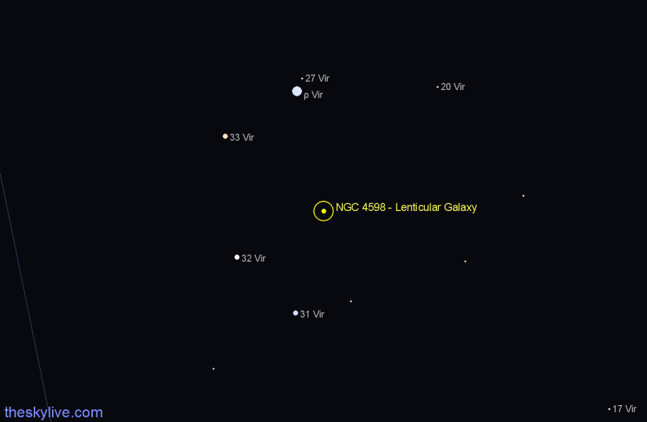 Finder chart NGC 4598 - Lenticular Galaxy star
