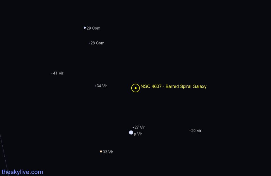 Finder chart NGC 4607 - Barred Spiral Galaxy star