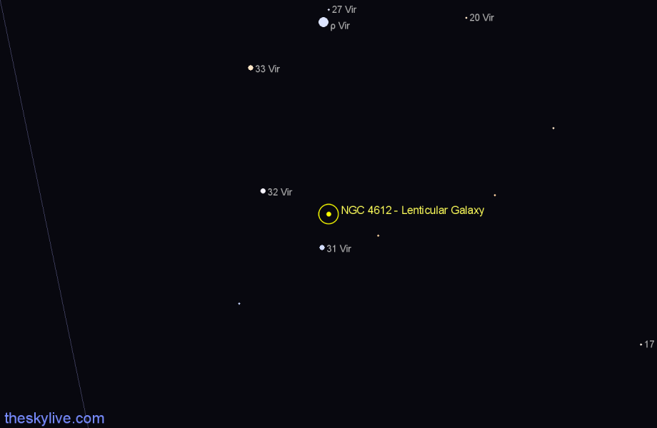 Finder chart NGC 4612 - Lenticular Galaxy star