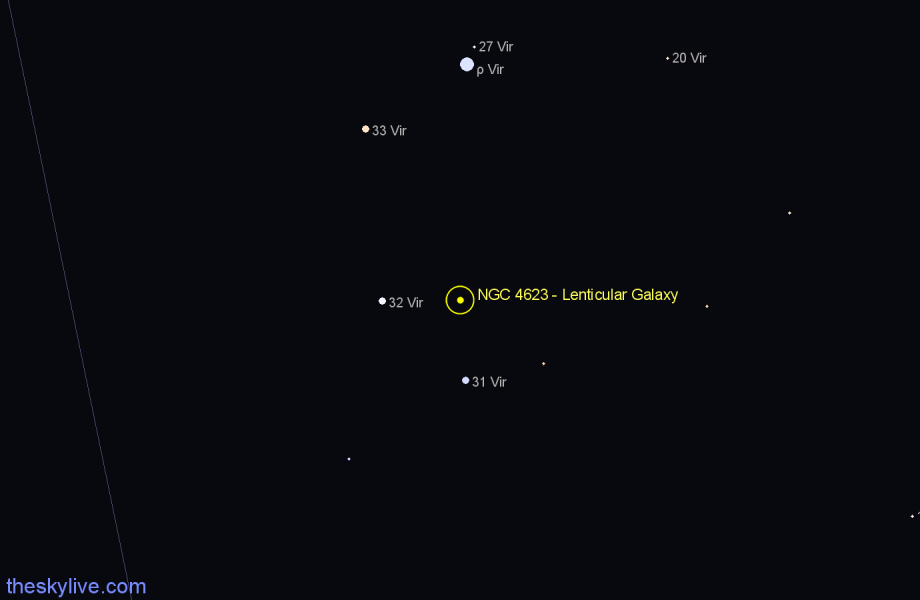 Finder chart NGC 4623 - Lenticular Galaxy star