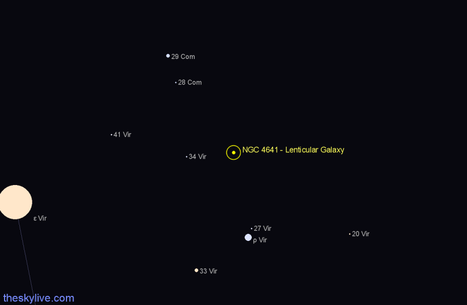 Finder chart NGC 4641 - Lenticular Galaxy star