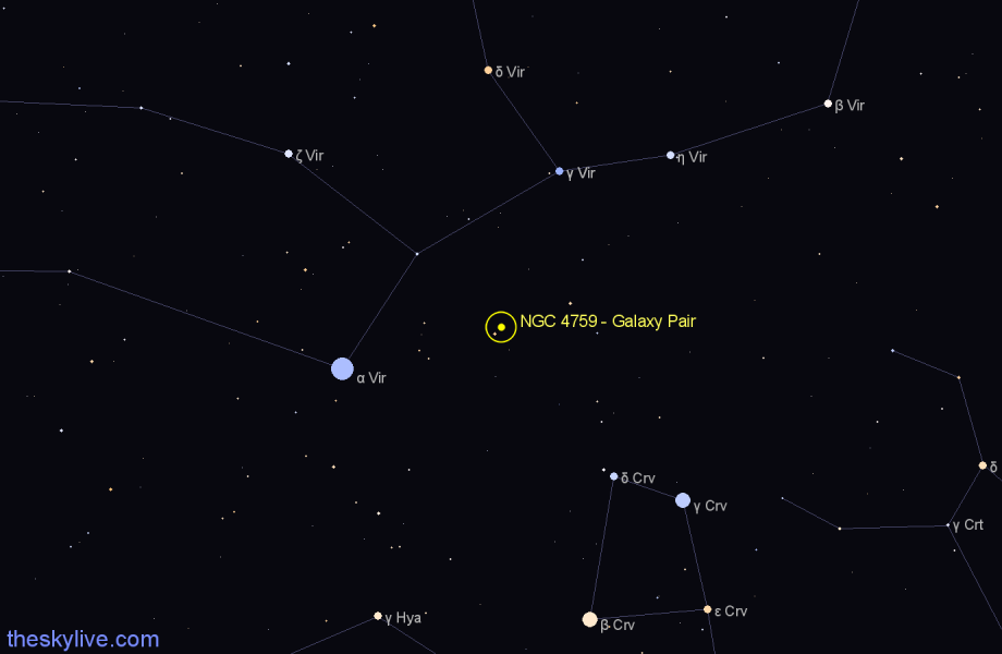 Finder chart NGC 4759 - Galaxy Pair star
