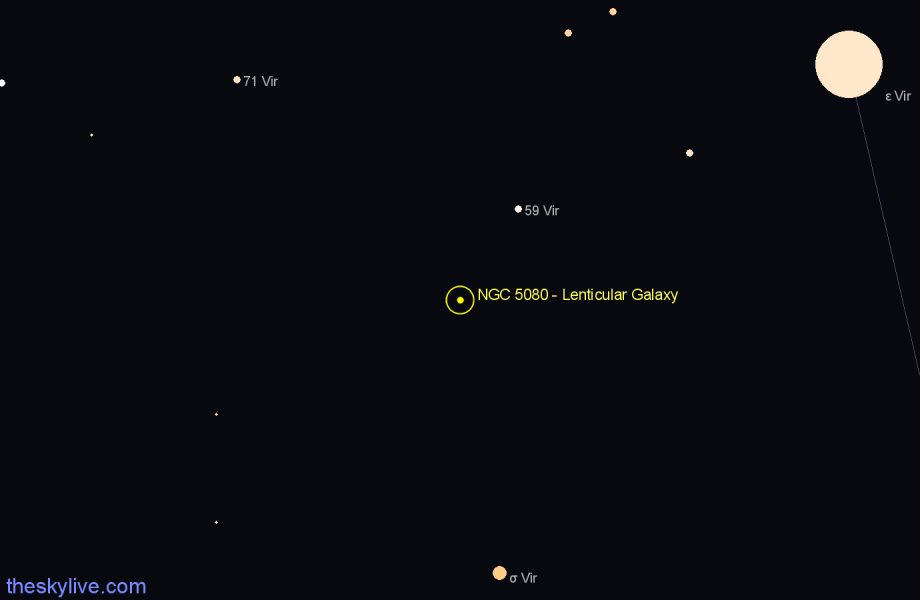 Finder chart NGC 5080 - Lenticular Galaxy star