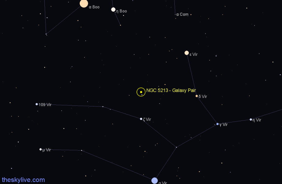 Finder chart NGC 5213 - Galaxy Pair star