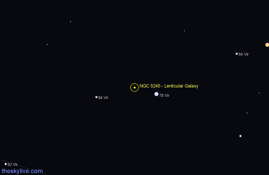 Finder chart NGC 5245 - Lenticular Galaxy star
