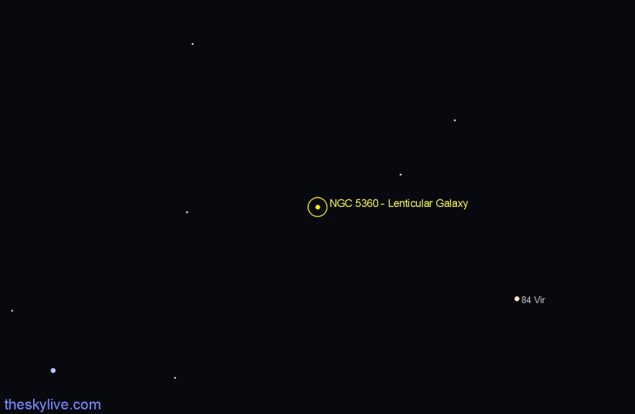 Finder chart NGC 5360 - Lenticular Galaxy star