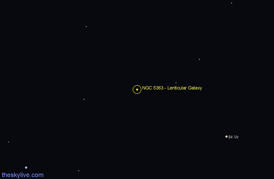 Finder chart NGC 5363 - Lenticular Galaxy star
