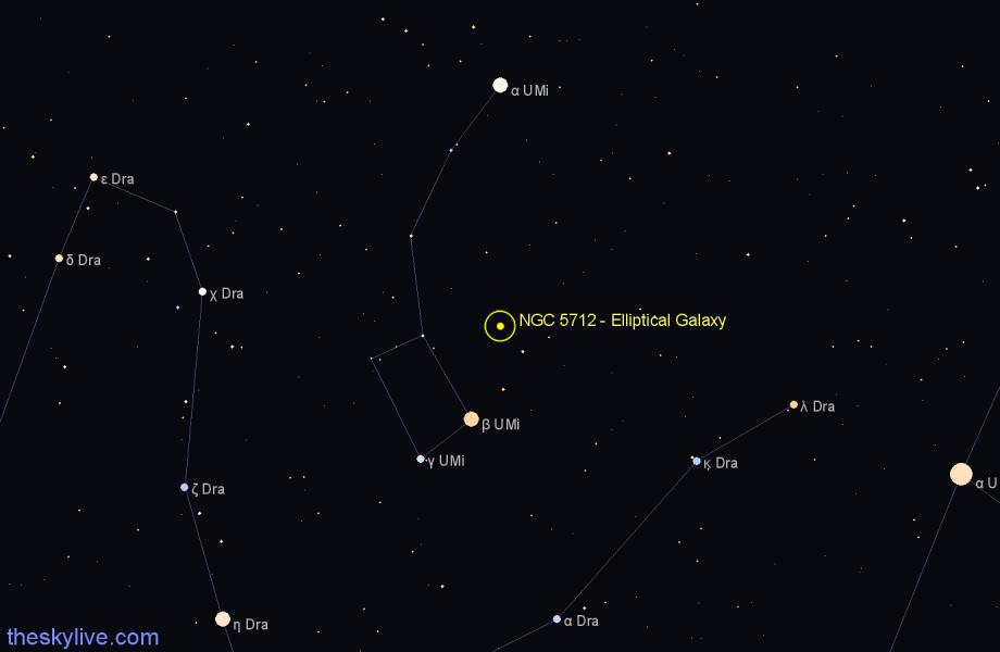 Finder chart NGC 5712 - Elliptical Galaxy in Ursa Minor star