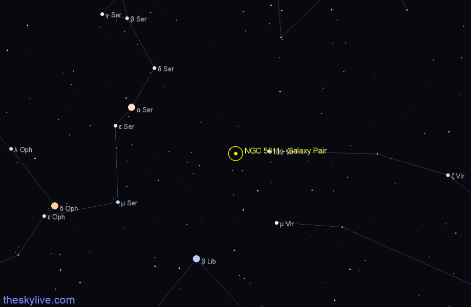 Finder chart NGC 5811 - Galaxy Pair star