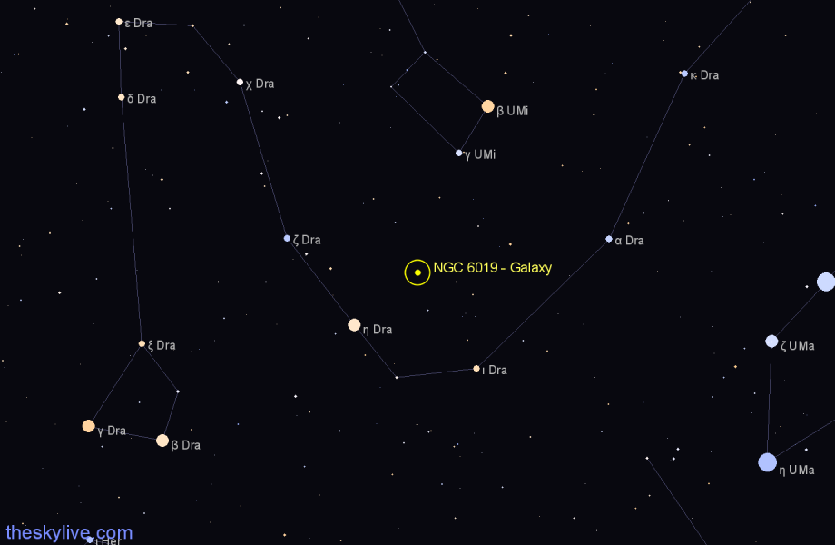 Finder chart NGC 6019 - Galaxy in Draco star