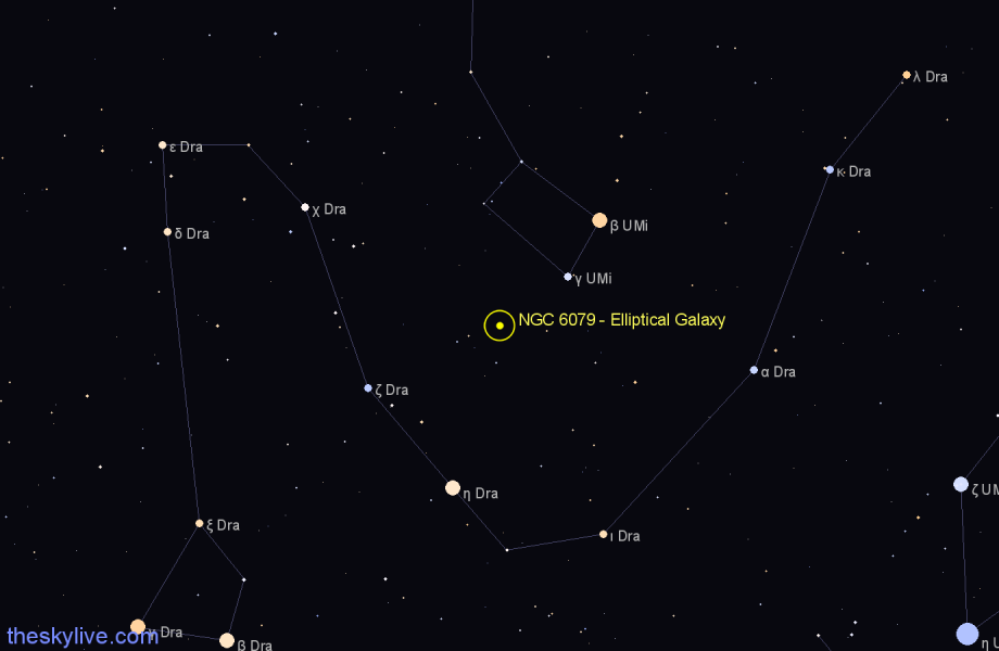 Finder chart NGC 6079 - Elliptical Galaxy in Draco star