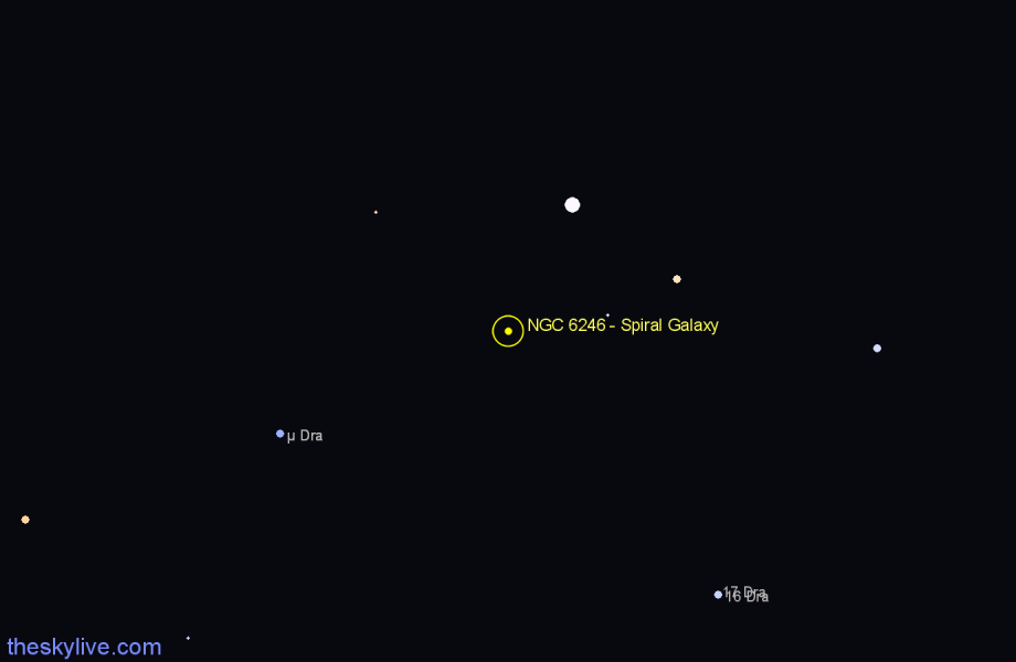 Finder chart NGC 6246 - Spiral Galaxy in Draco star