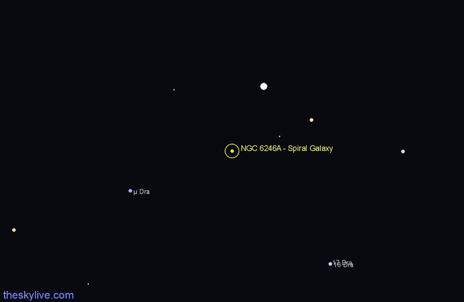 Finder chart NGC 6246A - Spiral Galaxy in Draco star
