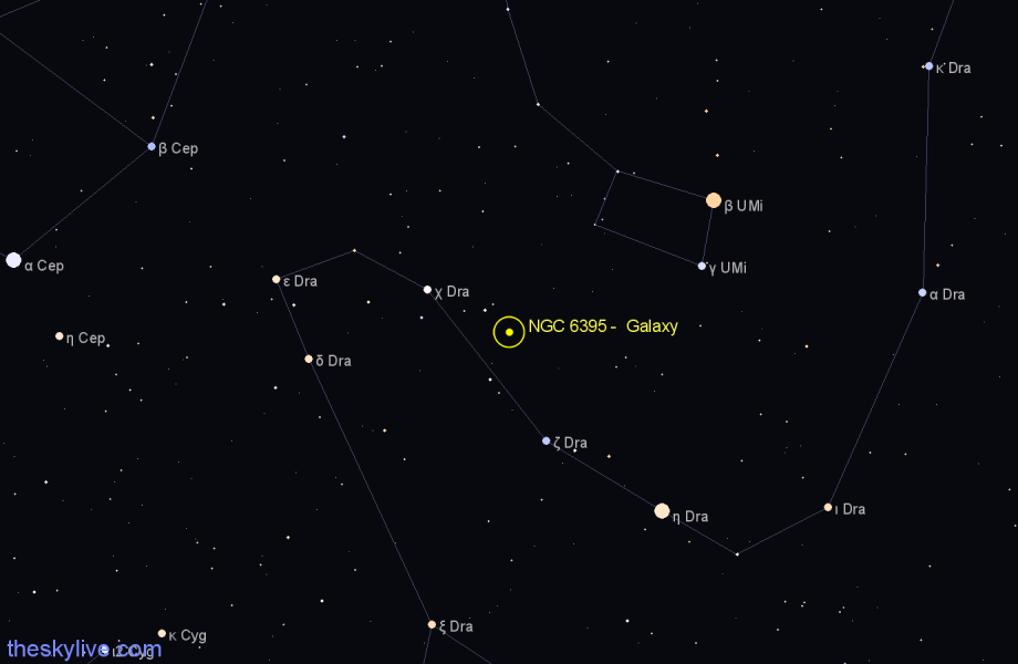 Finder chart NGC 6395 -  Galaxy in Draco star
