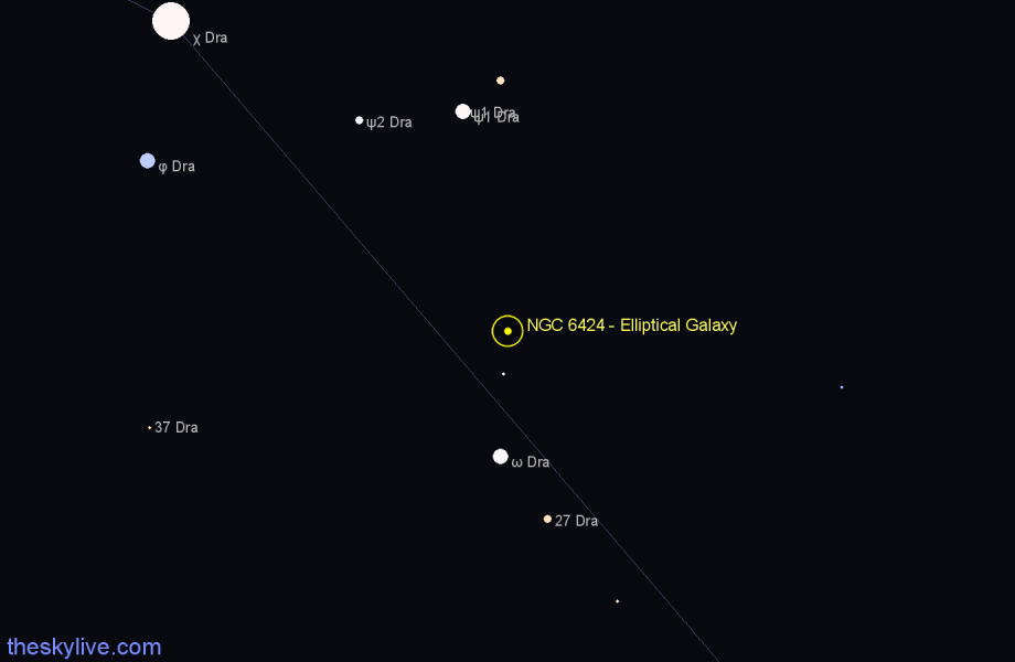 Finder chart NGC 6424 - Elliptical Galaxy in Draco star