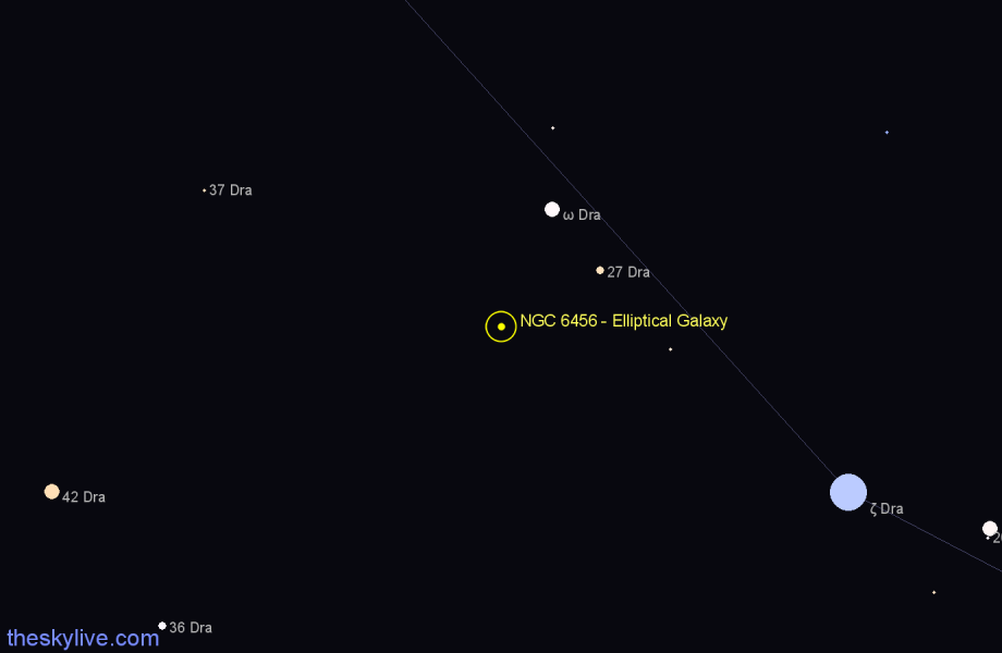 Finder chart NGC 6456 - Elliptical Galaxy in Draco star