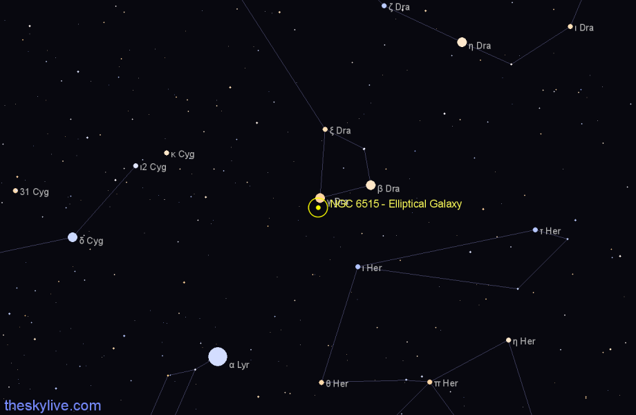 Finder chart NGC 6515 - Elliptical Galaxy in Draco star