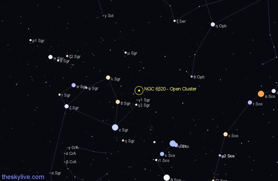 Finder chart NGC 6520 - Open Cluster star