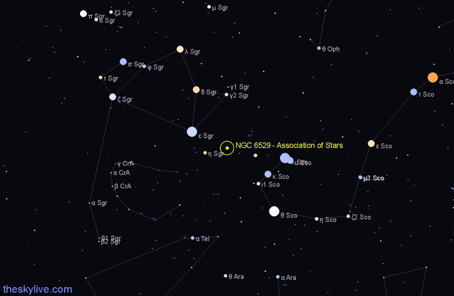 Finder chart NGC 6529 - Association of Stars star