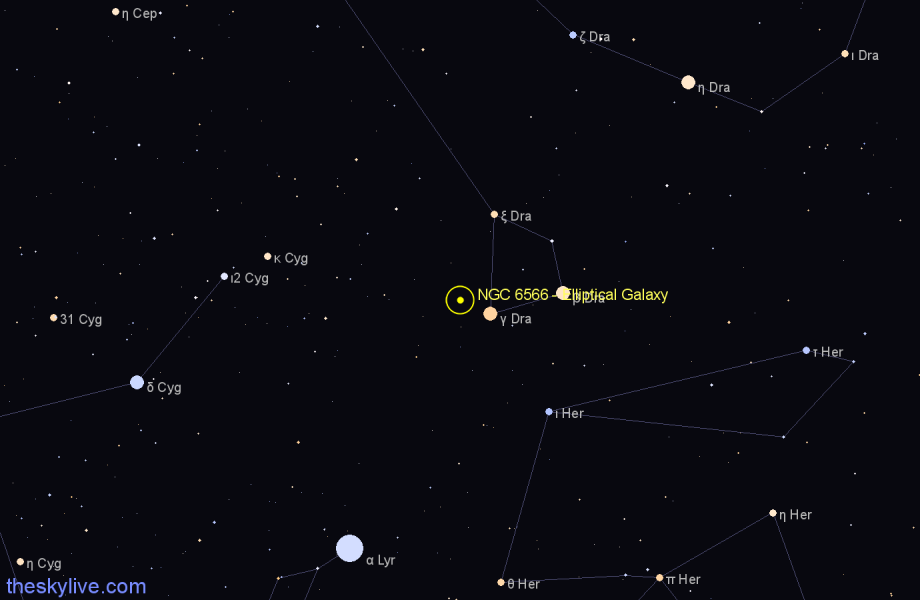 Finder chart NGC 6566 - Elliptical Galaxy in Draco star