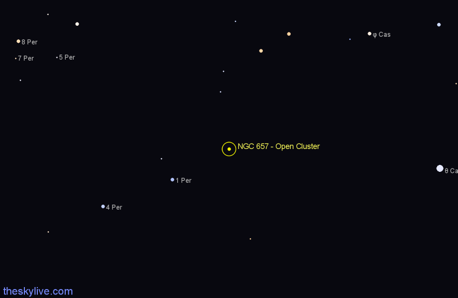 Finder chart NGC 657 - Open Cluster in Cassiopeia star
