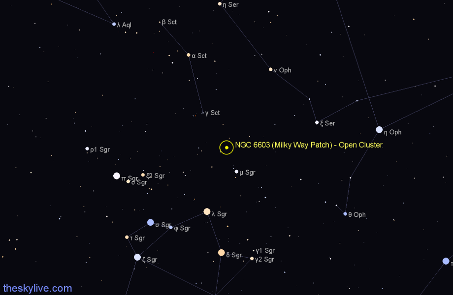 Finder chart NGC 6603 (Milky Way Patch) - Open Cluster star