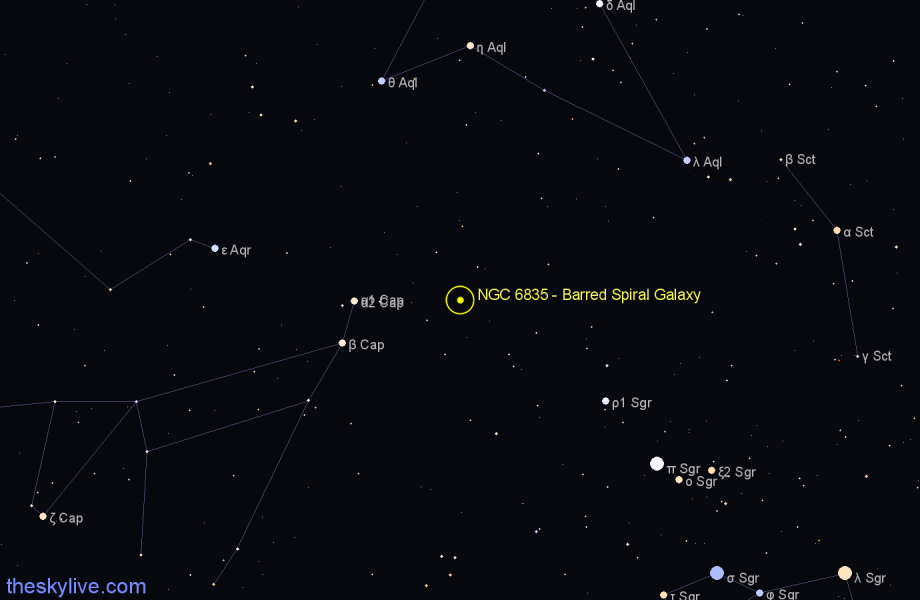 Finder chart NGC 6835 - Barred Spiral Galaxy star