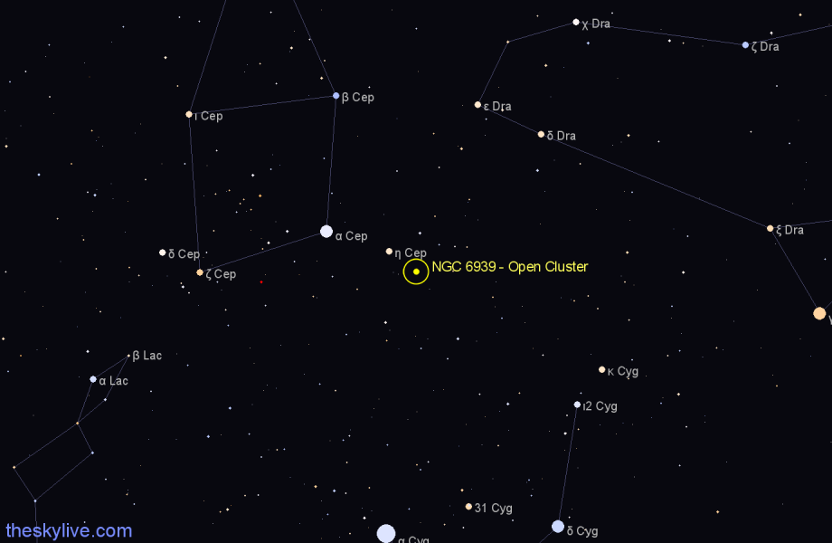 Finder chart NGC 6939 - Open Cluster star