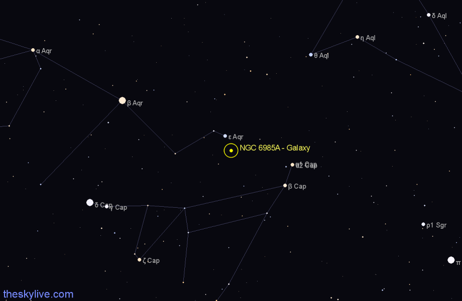 Finder chart NGC 6985A - Galaxy in Aquarius star