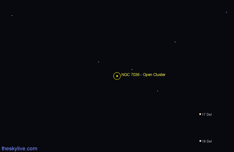 Finder chart NGC 7036 - Open Cluster in Pegasus star